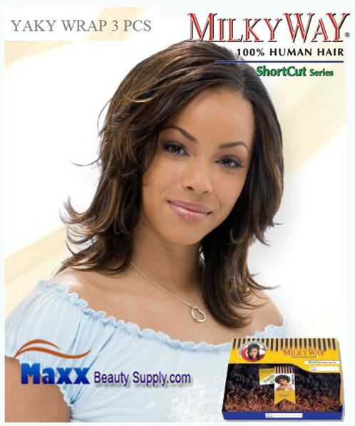 MilkyWay Human Hair Weave Short Cut Series - Yaky Wrap 3pcs